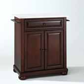 Alexandria Granite Top Portable Kitchen Island Cart In Mahogany, 31'' W x 18'' D x 33-1/2'' H