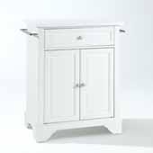 Lafayette Granite Top Portable Kitchen Island Cart In White, 31'' W x 18'' D x 35-1/2'' H