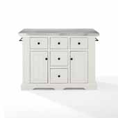 Julia Kitchen Island In White with a Stainless Steel Counter Top and Built-in Spice Rack, 50'' W x 32'' D x 36'' H