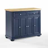 Madison Kitchen Island In Navy with a Solid Wood Butcher Block Top and Genuine Metal Brushed Nickel Hardware, 42'' W x 18'' D x 35-3/8'' H