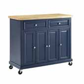 Madison Rolling Kitchen Island Cart In Navy with a Solid Wood Butcher Block Top and Genuine Metal Brushed Nickel Hardware, 42'' W x 18'' D x 36-5/8'' H