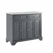 Avery Kitchen Island In Gray with a White Faux Marble Top and Genuine Metal Brushed Nickel Hardware, 42'' W x 18'' D x 35-3/8'' H