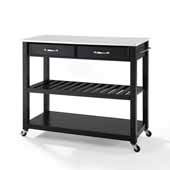 Full Size Granite Top Portable Kitchen Prep Cart In Black with Included Towel Bar and Brushed Nickel Hardware, 43'' W x 17'' D x 35'' H