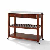 Full Size Granite Top Portable Kitchen Prep Cart In Cherry with Included Towel Bar and Brushed Nickel Hardware, 43'' W x 17'' D x 35'' H