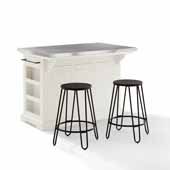 Julia Kitchen Island In White with Stainless Steel Counter Top and Included Set of Two Ava Steel Bar Stools, 50'' W x 32'' D x 36'' H