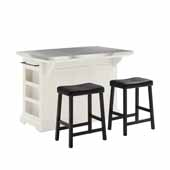 Julia Kitchen Island In White with Stainless Steel Counter Top and Set of Two Upholstered Saddle Black Faux Leather Bar Stools, 50'' W x 32'' D x 36'' H