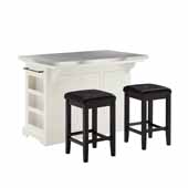 Julia Kitchen Island In White with Stainless Steel Counter Top and Set of Two Upholstered Square Black Faux Leather Bar Stools, 50'' W x 32'' D x 36'' H