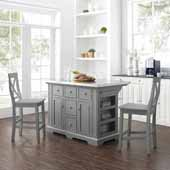 Julia Stainless Steel Top Kitchen Island with Two Gray X-Back Counter Stools