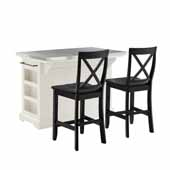 Julia Kitchen Island In White with Stainless Steel Counter Top and Set of Two X-Back Bar Stools, 50'' W x 32'' D x 36'' H