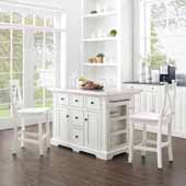 Julia Stainless Steel Top Kitchen Island with Two White X-Back Counter Stools