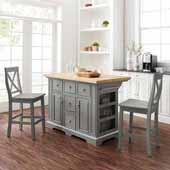 Julia Natural Wood Top Kitchen Island with Two Gray X-Back Counter Stools