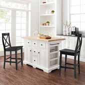 Julia Natural Wood Top Kitchen Island with Two Black X-Back Counter Stools