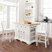 Julia Natural Wood Top Kitchen Island with White Black X-Back Counter Stools