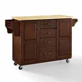 Eleanor Hardwood Moveable Kitchen Cart In Mahogany with Genuine Metal Hardware Including Spice rack and Solid Wood Top, 51-1/2'' W x 18'' D x 35-1/4'' H