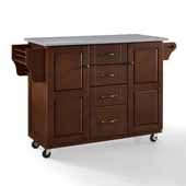 Eleanor Portable Kitchen Cart In Mahogany with Brushed Nickel Hardware, Included Spice Rack and Stainless Steel Top, 51-1/2'' W x 18'' D x 35-1/4'' H