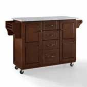 Eleanor Portable Kitchen Cart In Mahogany with Antique Bronze Hardware, Included Towel Bar and Grey Granite Top, 51-1/2'' W x 18'' D x 35-1/4'' H