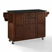 Eleanor Portable Kitchen Cart In Mahogany with Brushed Nickel Hardware, Included Spice Rack and Black Granite Top, 51-1/2'' W x 18'' D x 35-1/4'' H