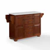 Eleanor Kitchen Island In Mahogany with Antique Bronze Hardware, Included Towel Bar and White Granite Top, 52-1/2'' W x 18'' D x 33-7/8'' H