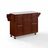 Eleanor Portable Kitchen Cart In Mahogany with Antique Bronze Hardware, Included Towel Bar and White Granite Top, 52-1/2'' W x 18'' D x 33-7/8'' H