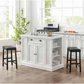Seaside Kitchen Island in Distressed White with 2 Upholstered Saddle Stools in Black Finish