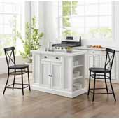 Seaside Kitchen Island in Distressed White with 2 Camille Counter Stools in Matte Black Finish