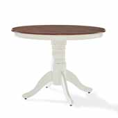 Shelby Farmhouse Round Pedestal Table In Distressed White with Rich Cherry Table Top finish, 42'' Diameter x 30-1/2'' H