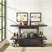 Porter Entertainment Console, Metal Frame with Distressed Wood Top, 64''W x 28''D x 38''H