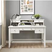 Adler Computer Desk with Hutch, White Finish, 54''W x 28''D x 30''H