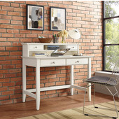 Campbell Writing Desk with Hutch, White Finish, 42''W x 28''D x 30''H