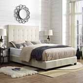 Reston Square Upholstered Queen Bed Set, Crème Linen Finish, 64''W x 85-1/4''D x 58''H