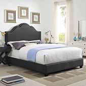 Preston Camelback Upholstered Queen Bed Set, Charcoal Linen Finish, 64''W x 85-1/4''D x 58''H