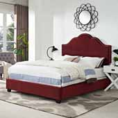 Preston Camelback Upholstered Queen Bed Set, Merlot Microfiber Finish, 64''W x 85-1/4''D x 58''H
