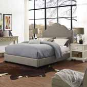 Preston Camelback Upholstered Queen Bed Set, Shadow Gray Linen Finish, 64''W x 85-1/4''D x 58''H