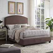 Cassie Curved Upholstered Queen Bed Set, Bourbon Linen Finish, 64''W x 83''D x 58''H