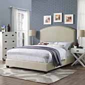 Cassie Curved Upholstered Queen Bed Set, Crème Linen Finish, 64''W x 85-1/4''D x 58''H
