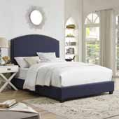 Cassie Curved Upholstered Queen Bed Set, Navy Linen Finish, 64''W x 85-1/4''D x 58''H