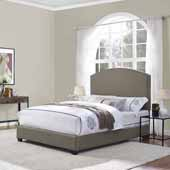 Cassie Curved Upholstered Queen Bed Set, Shadow Gray Linen Finish, 64''W x 85-1/4''D x 58''H