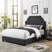 Loren Keystone Upholstered Queen Bed Set, Charcoal Linen Finish, 64''W x 85-1/4''D x 58''H