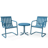 Gracie 3-Piece Metal Outdoor Conversation Seating Set - 2 Chairs and Side Table in Caribbean Blue