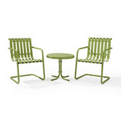 Gracie 3-Piece Metal Outdoor Conversation Seating Set - 2 Chairs and Side Table in Oasis Green