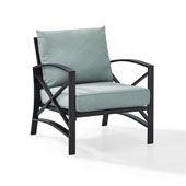 Kaplan Arm Chair in Oiled Bronze with Mist Universal Cushion Cover