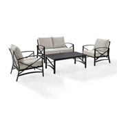 Kaplan 4 pc Outdoor Seating Set with Oatmeal Cushion - Loveseat, Two Chairs, Coffee Table