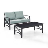 Kaplan 2 pc Outdoor Seating Set with Mist Cushion - Loveseat, Coffee Table