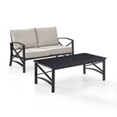 Kaplan 2 pc Outdoor Seating Set with Oatmeal Cushion - Loveseat, Coffee Table