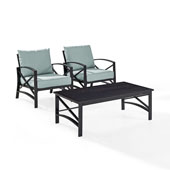 Kaplan 3 pc Outdoor Seating Set with Mist Cushion - Two Outdoor Chairs, Coffee Table