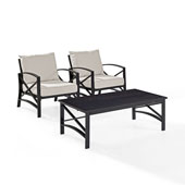 Kaplan 3 pc Outdoor Seating Set with Oatmeal Cushion - Two Outdoor Chairs, Coffee Table