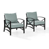 Kaplan 2 pc Outdoor Seating Set with Mist Cushion -  Two Outdoor Chairs