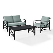 Kaplan 3 pc Outdoor Seating Set with Mist Cushion - Loveseat, Chair , Coffee Table