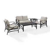 Kaplan 5 pc Outdoor Seating Set with Oatmeal Cushion - Loveseat, Two Chairs, Coffee Table, Side Table