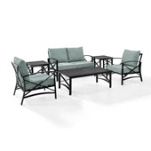 Kaplan 6 pc Outdoor Seating Set with Mist Cushion - Loveseat, Two Chairs, Two Side Tables, Coffee Table